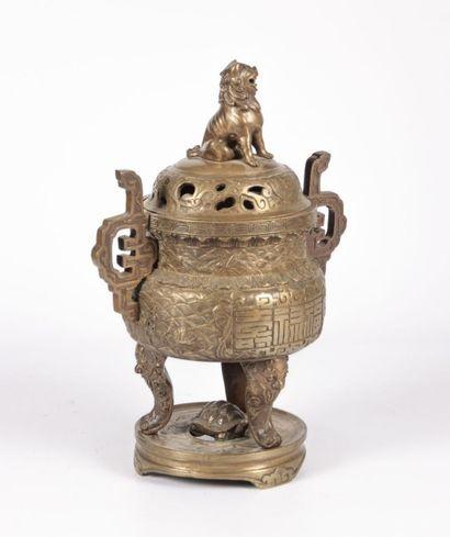 CHINE  Brûle parfum couvert en bronze reposant...