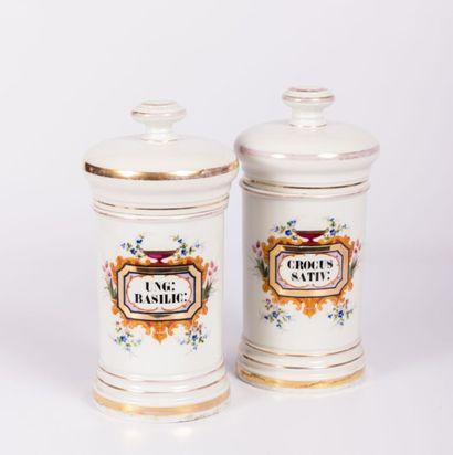Paire de pots à pharmacie en porcelaine,...