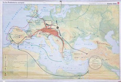 Lot de six cartes géographiques comprenant...