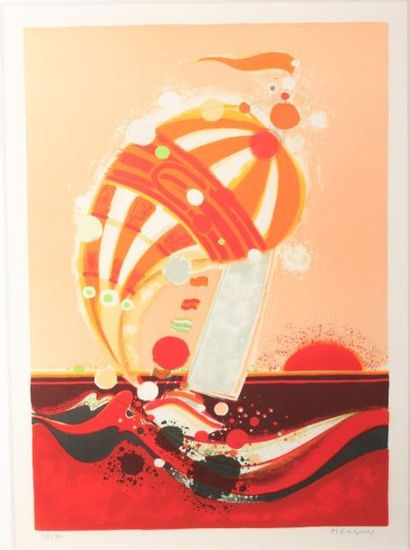 MENGUY Frédéric (1927-2007)  Le spi  Lithographie...