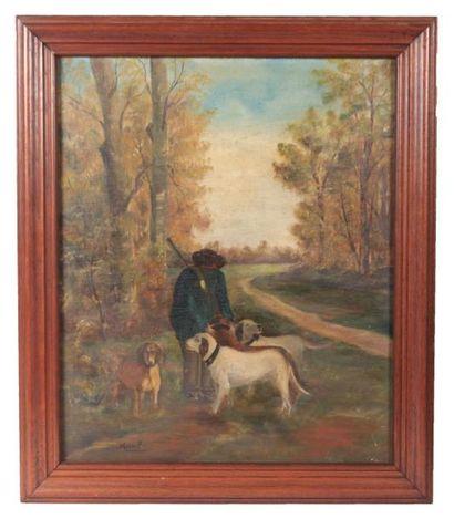 MARCEL (XXème siècle)  Chasseurs et ses chiens...