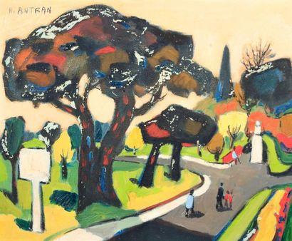 AUTRAN Henri (né en 1926)  Paysage animé...