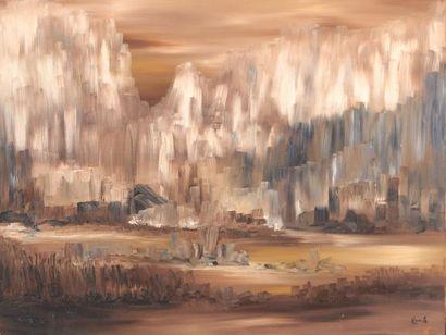KEHL (XXème siècle)  Paysage abstrait  Huile...