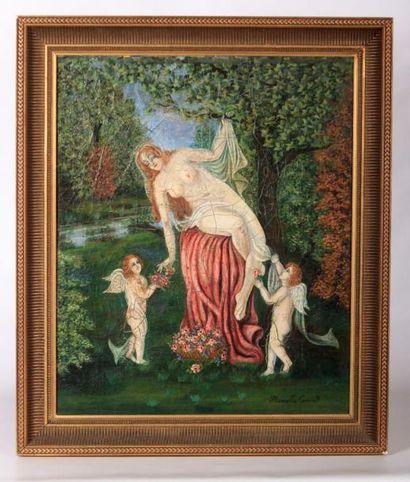CONORD Marcelle  Femmes et angelots  Panneau...