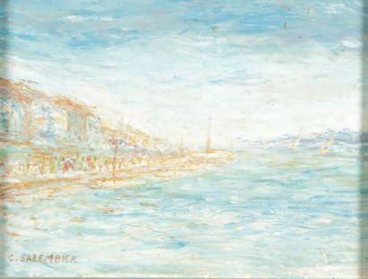 SALEMBIER C. (XXème siècle)  Paysage de bateaux...