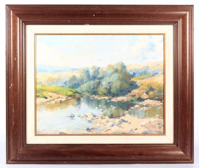 MUNADI (XXème siècle)  Paysage lacustre  Huile...