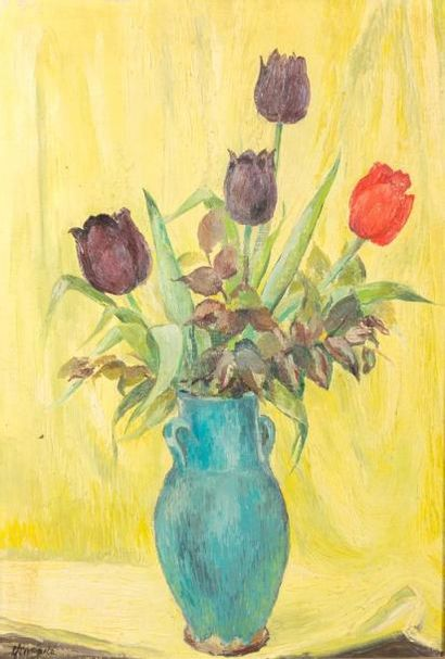 ANONYME (XXème siècle)  Bouquet de tulipes...