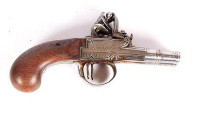 Pistolet à coffre à silex - à canons double,...