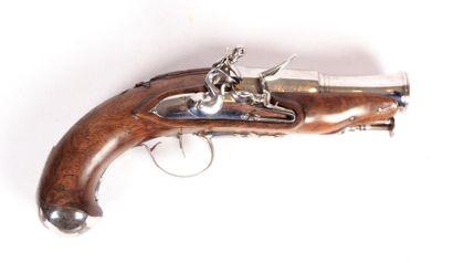 Pistolet à silex - canon à pans puis rond...