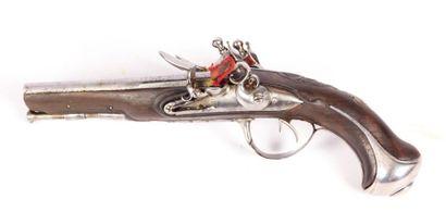 Pistolet à silex à canons double - platines...