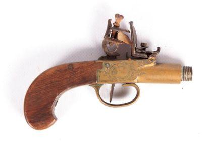 Pistolet à silex - coffre laiton gravé -...