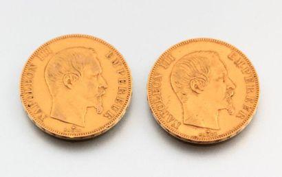 Deux pièces de 50 francs Napoléon III1859...