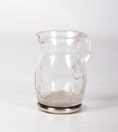 Pot à lait en verre, la monture en argent,...