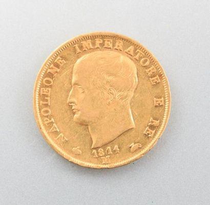 Pièce en or, 40 Lire - Napoléon Empereur,...