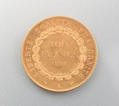 Pièce en or, 100 Francs - République Française, année 1881 A - Graveur : DUPRE Augustin...