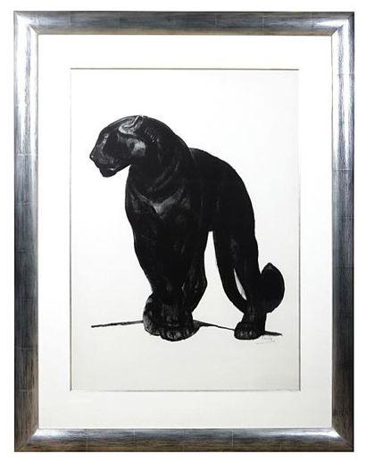 JOUVE Paul (1878-1973)  Panthère noire de face, pattes croisées  Lithographie originale...