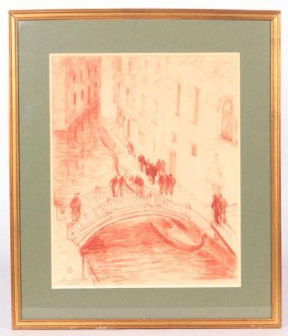 GIRARD Léon (XXème siècle)  Venise  Lavis...