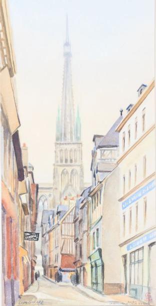 GIRARD Léon (XXème siècle)  Rouen, la cathédrale...