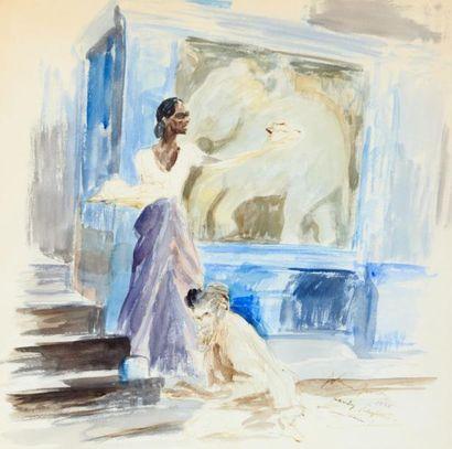 GUTH John (XXème siècle)  Kandy, Ceylan  Aquarelle...