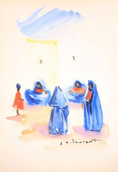J.E LOUXENT (XXème siècle)  Scéne orientaliste...