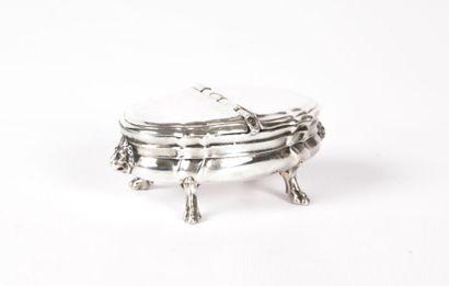 Boîte à épices en argent de forme ovale à...