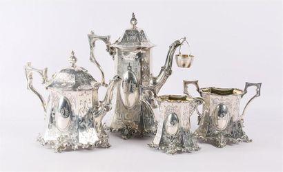 Service à thé et à café en argent comprenant...