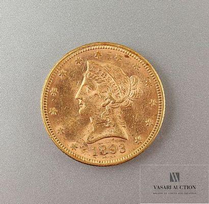 Une pièce or de 10 dollars 1893 Poids : 16,70...
