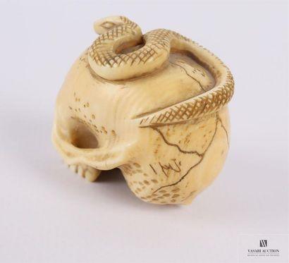 JAPON Netsuké en ivoire figurant un serpent sur un crâne humain Porte une marque...