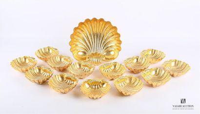 Service à fruit en argent doré 800/°° en...