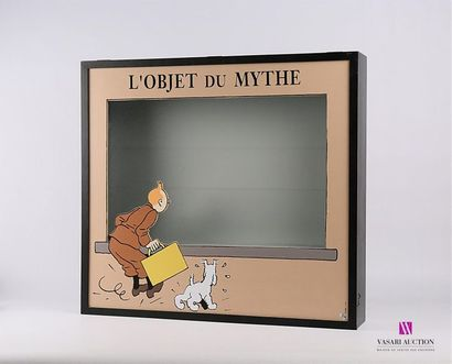 PIXI - HERGÉ / TINTIN Vitrine en bois et...
