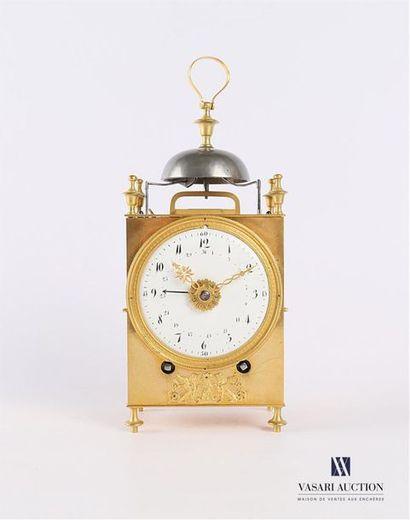Pendule dite Capucine en bronze et laiton...