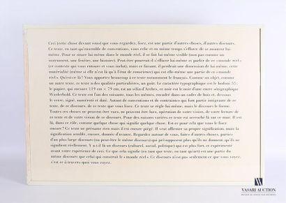 KOSUTH Joseph (né en 1945) Text/Context (Conventional)...