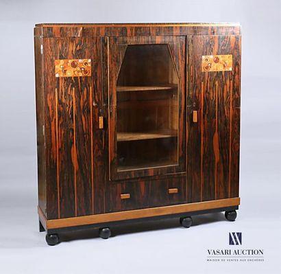 Meuble bibliothéque en bois de placage et...