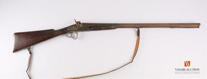 Fusil de chasse à percussion, canons en table,...