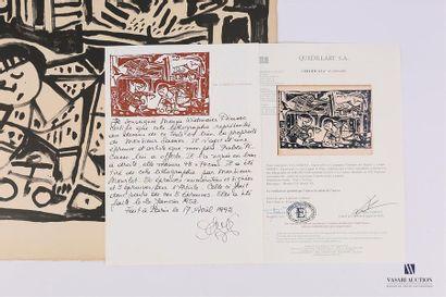 PICASSO Pablo (1881 - 1973) LA MERE ET LES ENFANTS. 20 Janvier 1953 Lithographie...