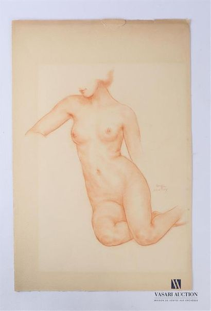 VAN ROY Dolf (1858-1943) Nu féminin Sanguine...