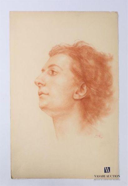 VAN ROY Dolf (1858-1943) Profil de femme,...