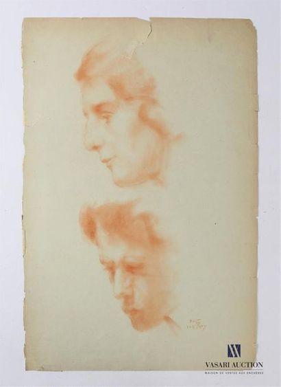 VAN ROY Dolf (1858-1943) Etude de profils...