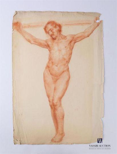VAN ROY Dolf (1858-1943) Homme en croix Sanguine...