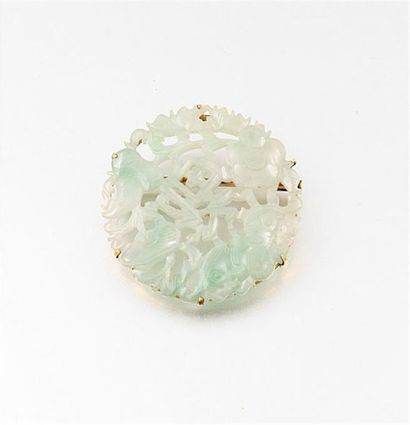 Broche ronde en pierre ornementale verte,...