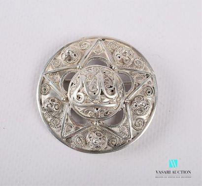Broche en argent de forme ronde à décor en...