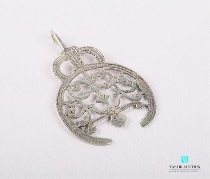Element de pendentif en argent 800/°° à décor...