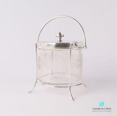 Bonbonnière en cristal gravé à décor d'une...