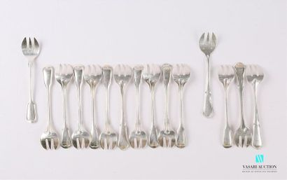 Suite de onze fourchettes à huitre en métal...