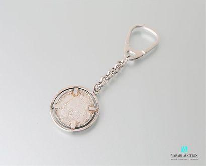 Porte clé en argent orné d'une pièce de la...