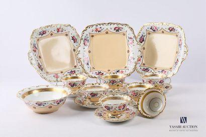 Partie de service à thé en porcelaine polychrome...