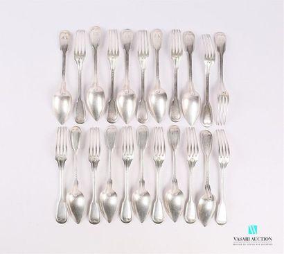 Suite de dix couverts de table et deux fourchettes...