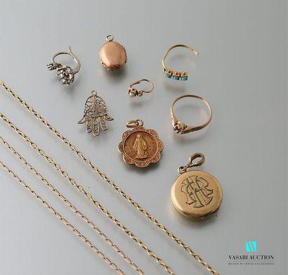 Lot d'or à la casse (chaînes, médailles,...