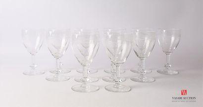 Suite de douze verres à eau en verre soufflé...