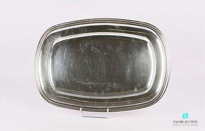 Plat en métal argenté de forme rectangulaire,...
